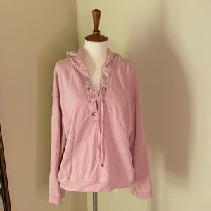 H&M Tops - Divided by H&M Lace Up Pink Hoodie